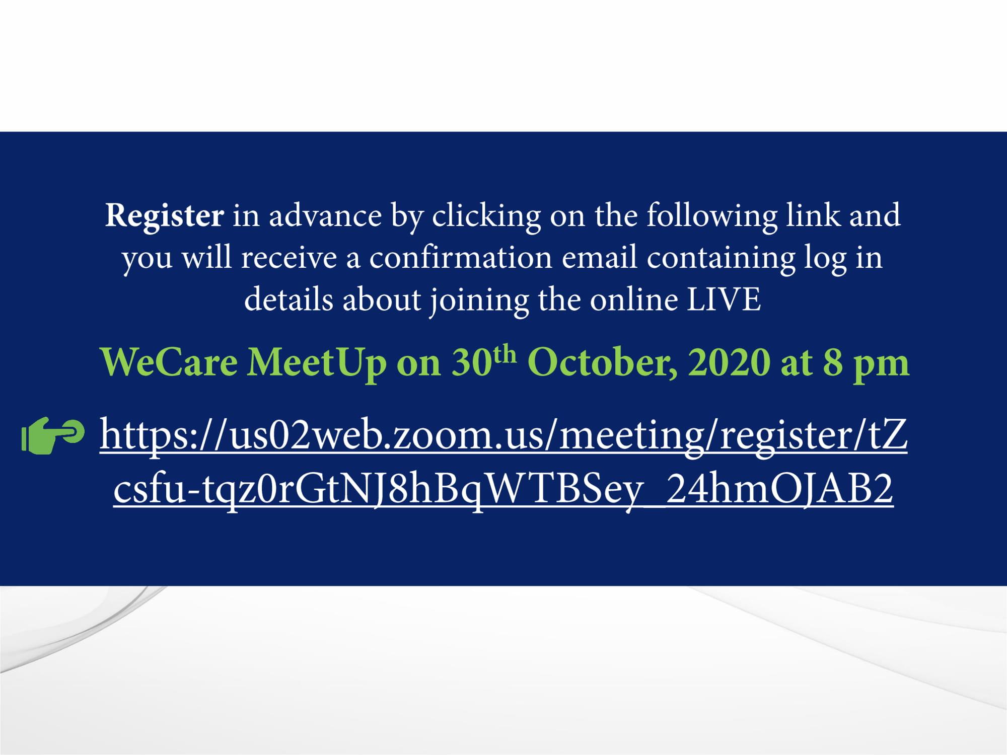 Invitation - WeCare MeetUp - 30th October, 2020-2